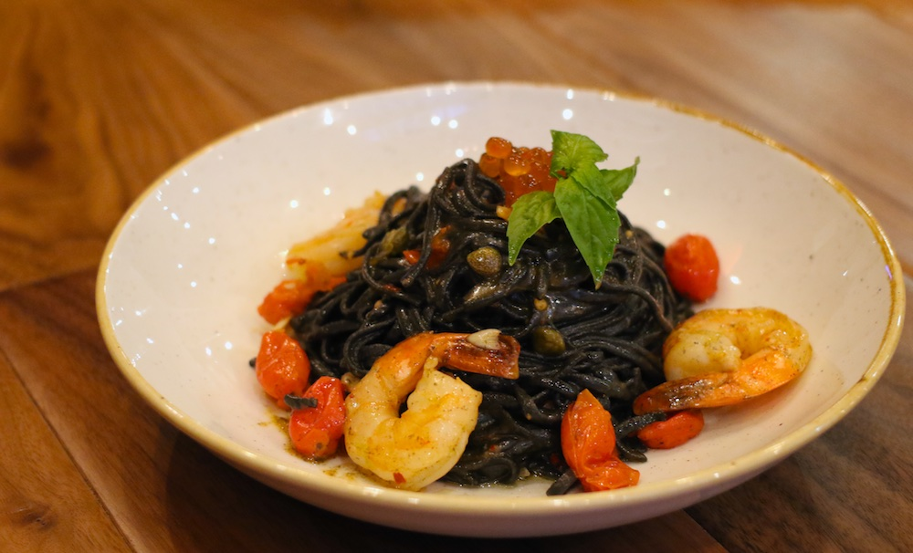 tostos quickfire pizza pasta nero squid ink shrimp spaghetti
